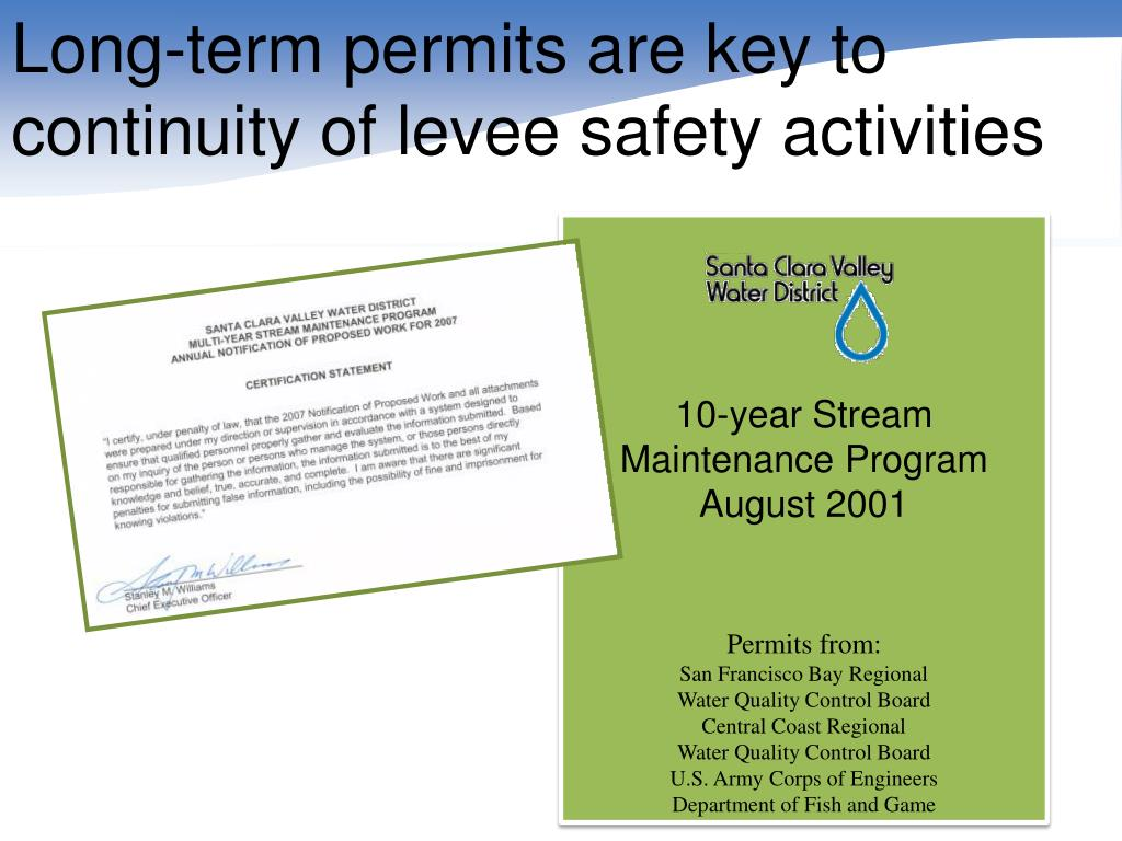 Long-term permits are key to continuity of levee safety activities
