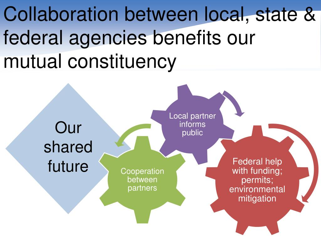 Collaboration between local, state & federal agencies benefits our mutual constituency