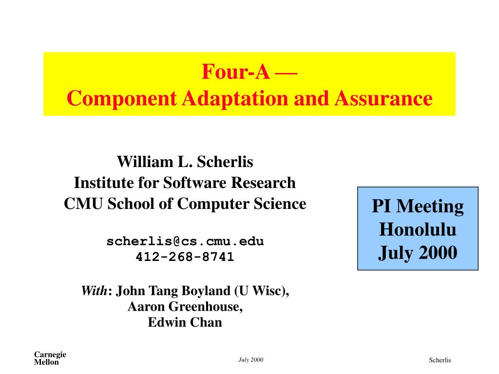 four a component adaptation and assurance l.