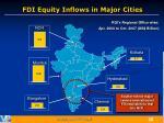 fdi equity inflows in major cities