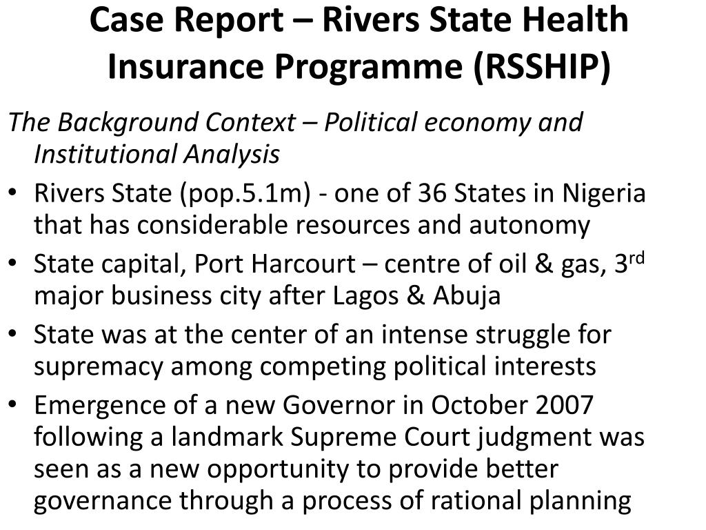 Case Report – Rivers State Health Insurance Programme (RSSHIP)