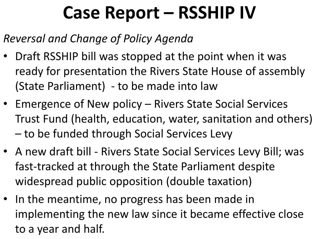 Case Report – RSSHIP IV