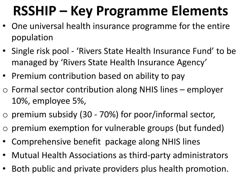 RSSHIP – Key Programme Elements