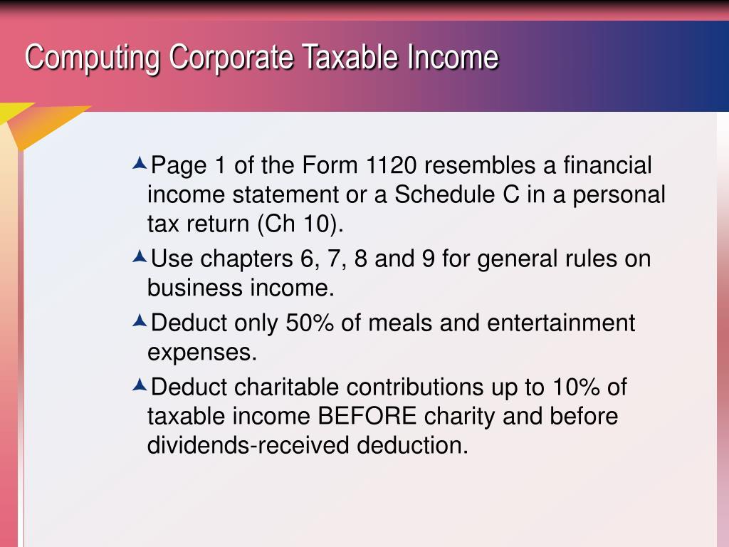 Computing Corporate Taxable Income