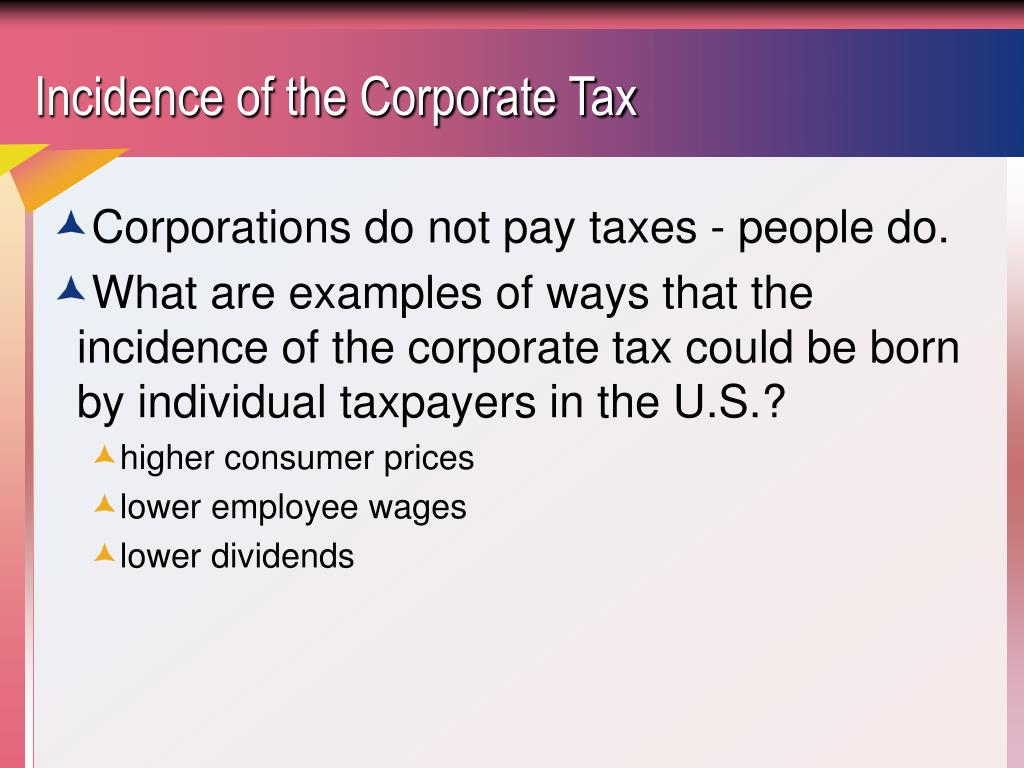 Incidence of the Corporate Tax