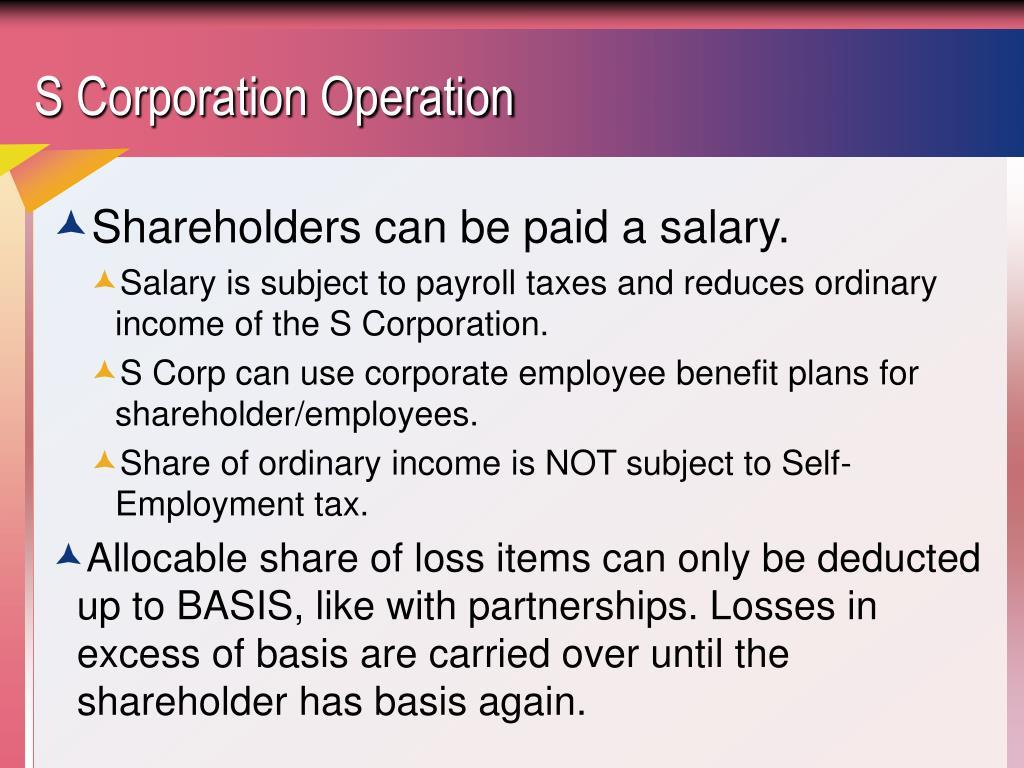 S Corporation Operation