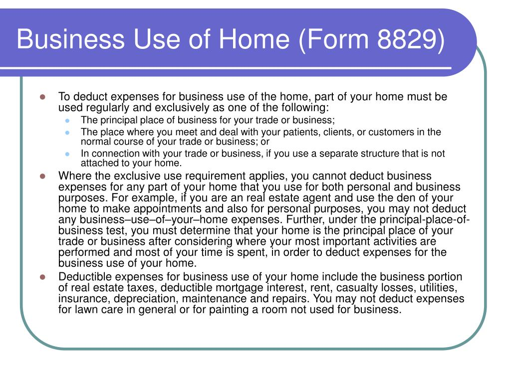 Business Use of Home (Form 8829)