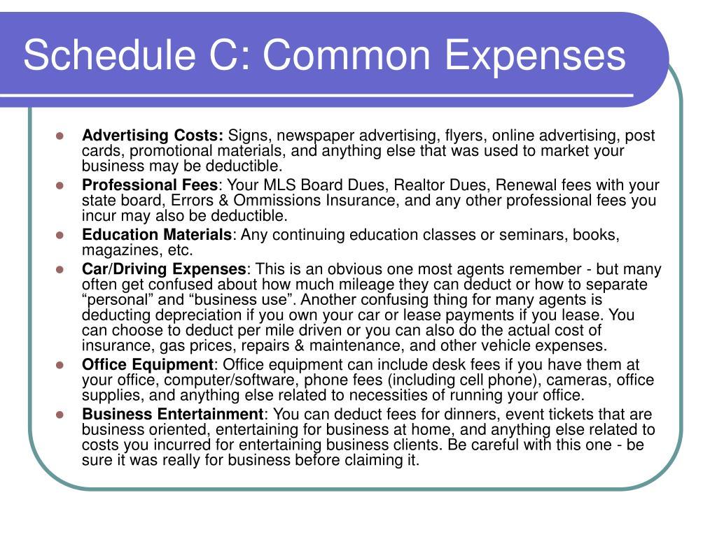 Schedule C: Common Expenses