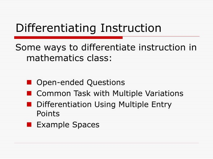 Differentiating instruction3