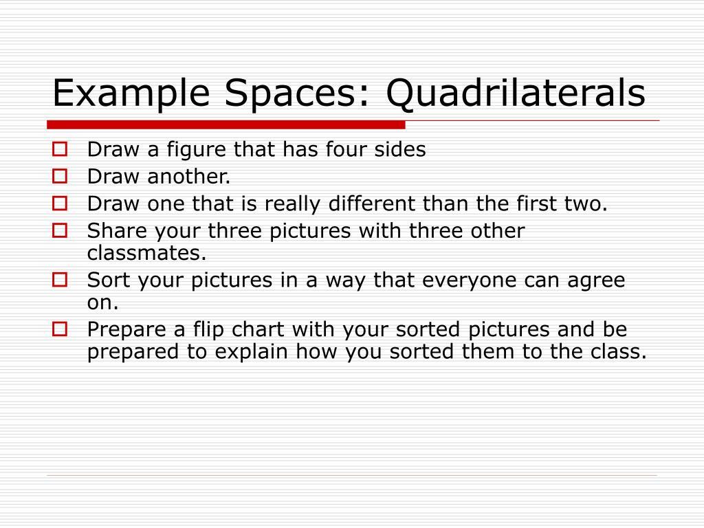 Example Spaces: Quadrilaterals