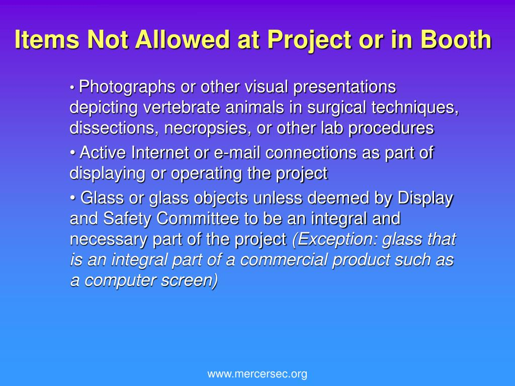 Items Not Allowed at Project or in Booth