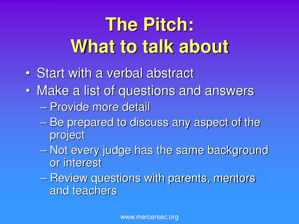 The Pitch: