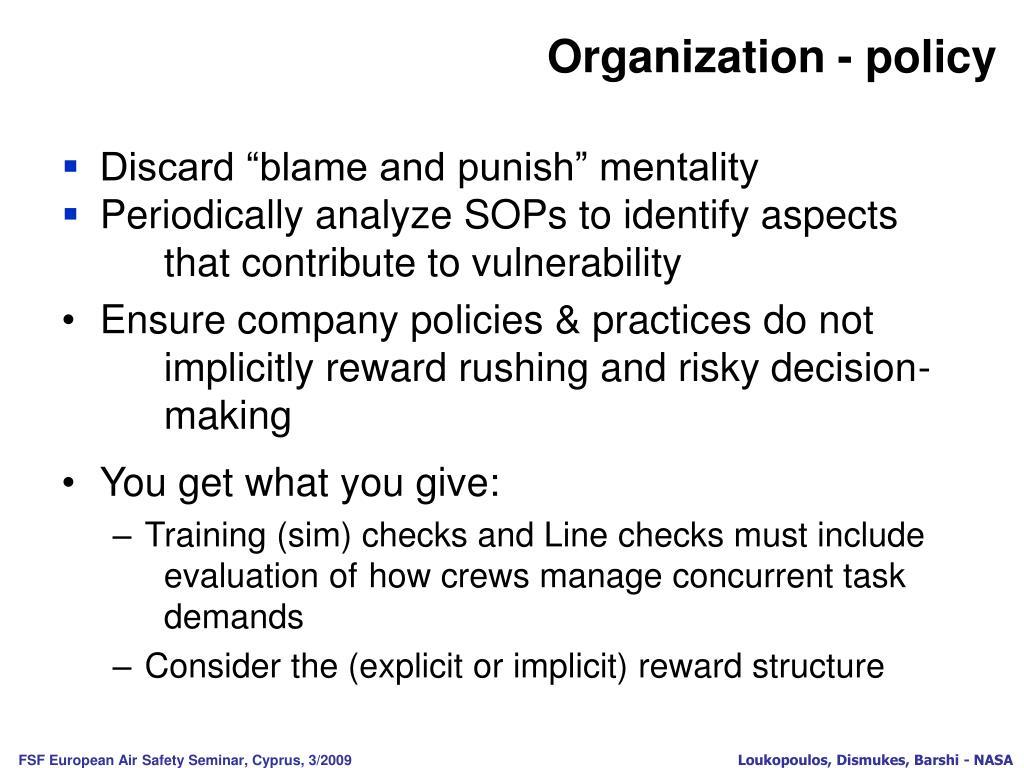 Organization - policy