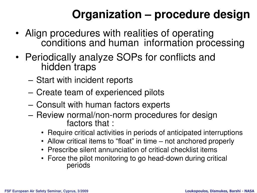 Organization – procedure design