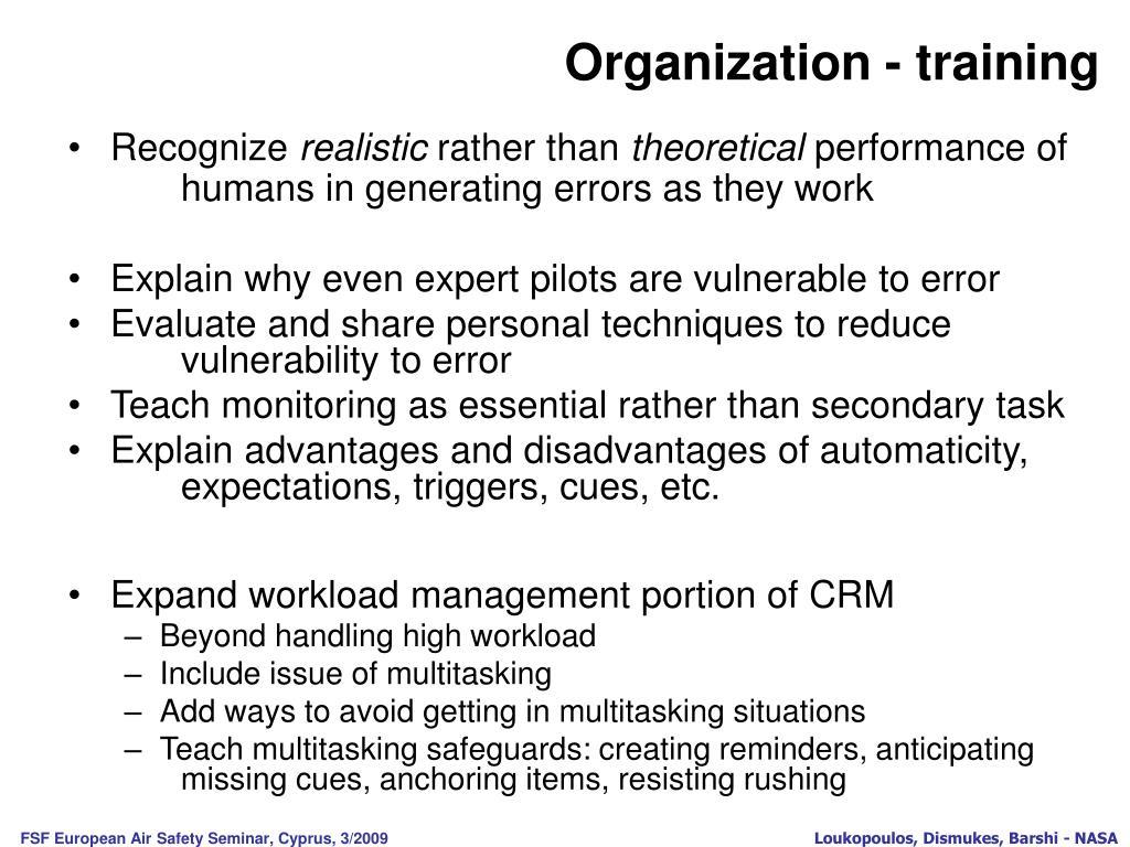 Organization - training