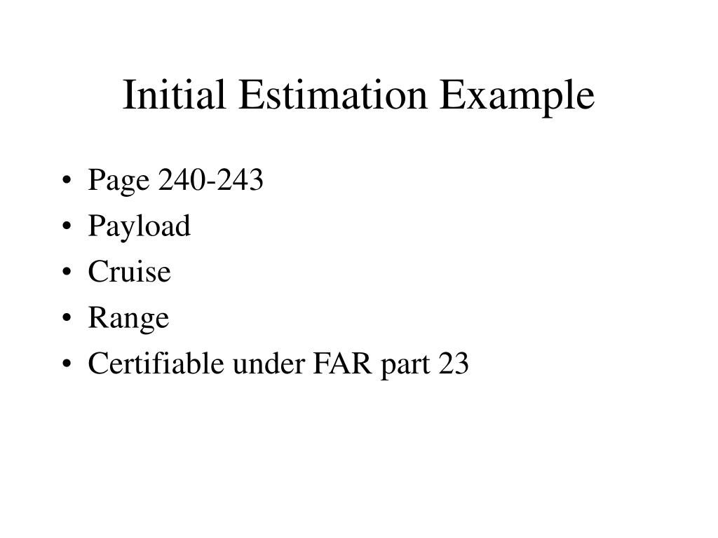 Initial Estimation Example