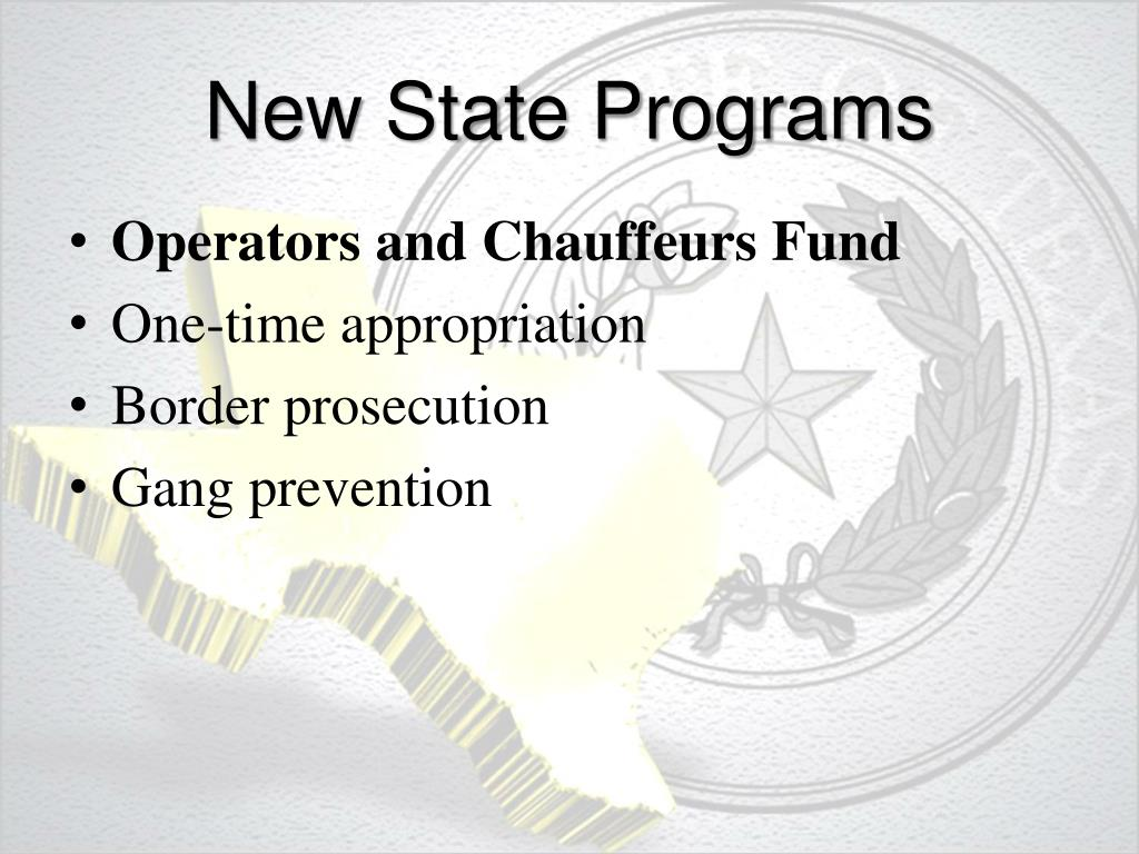 New State Programs
