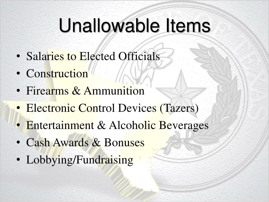 Unallowable Items