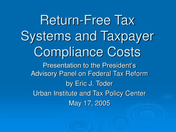 return free tax systems and taxpayer compliance costs n.