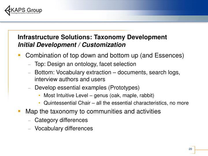 Infrastructure Solutions: Taxonomy Development
