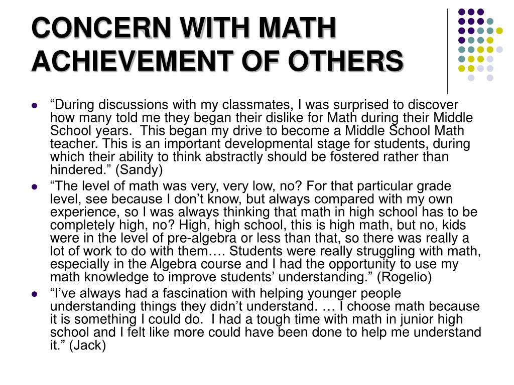 CONCERN WITH MATH ACHIEVEMENT OF OTHERS
