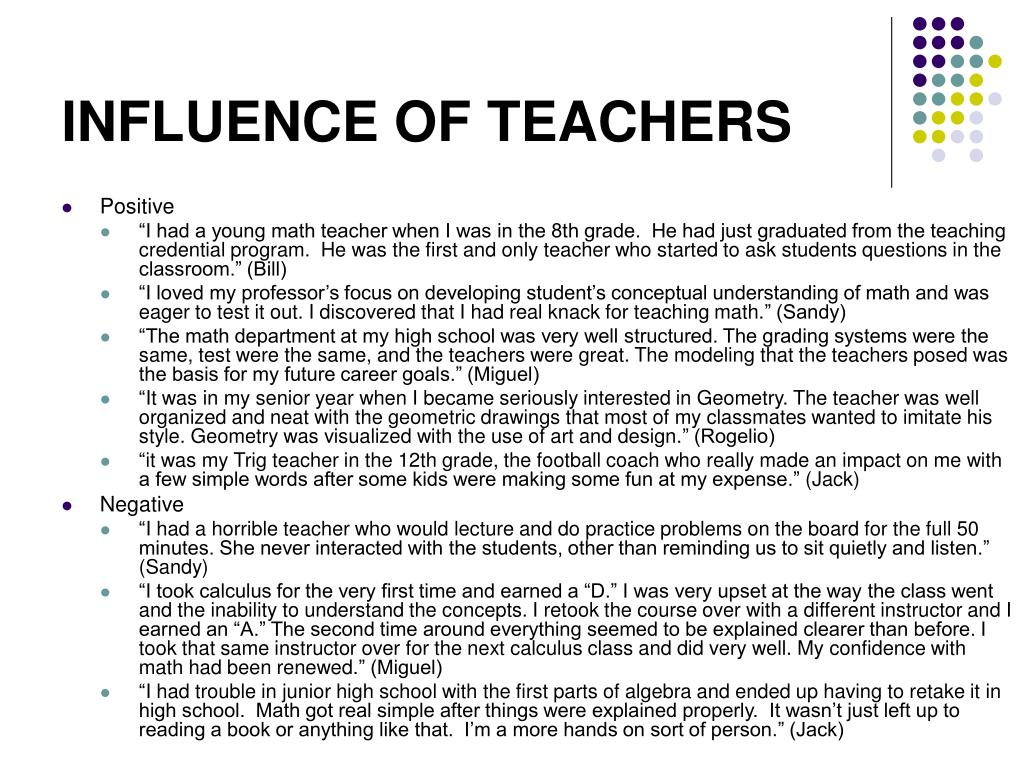 INFLUENCE OF TEACHERS