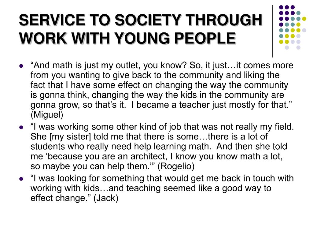 SERVICE TO SOCIETY THROUGH WORK WITH YOUNG PEOPLE