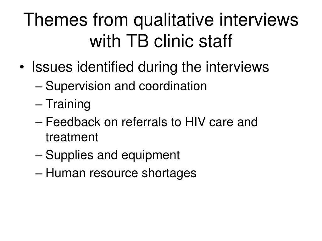Themes from qualitative interviews with TB clinic staff