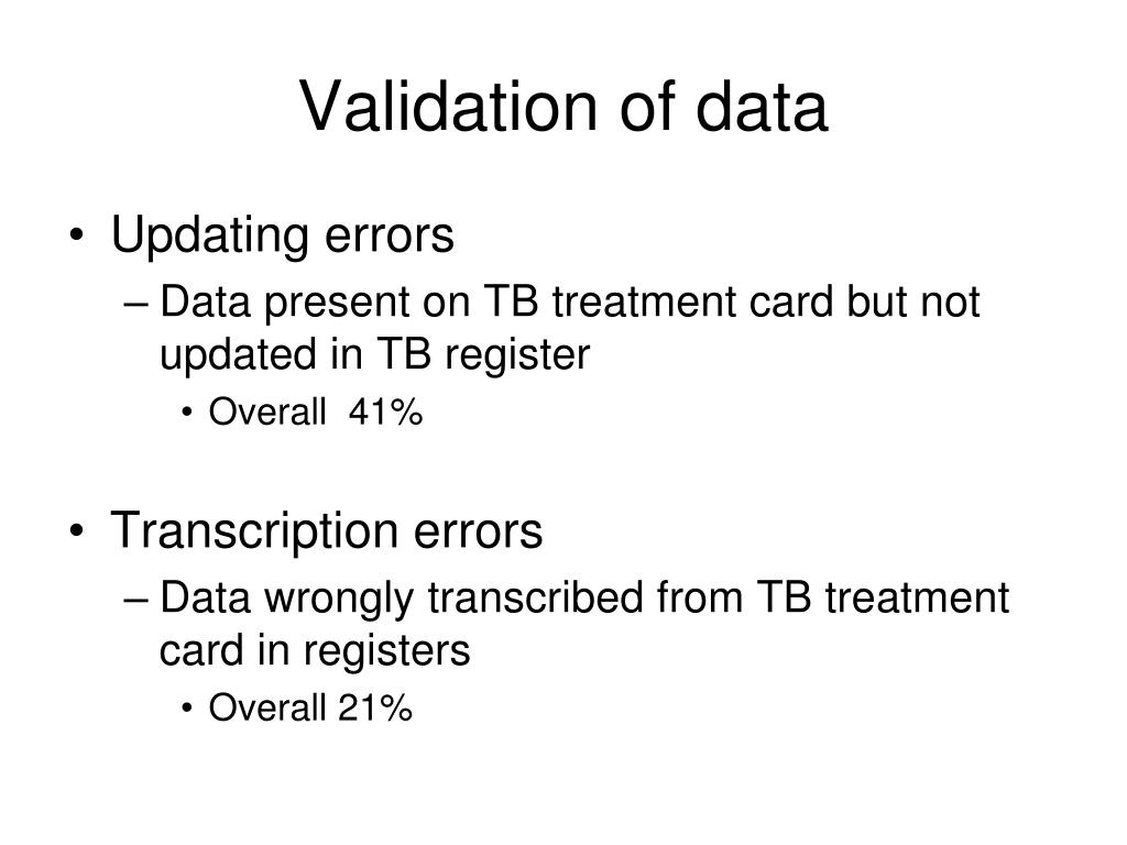 Validation of data