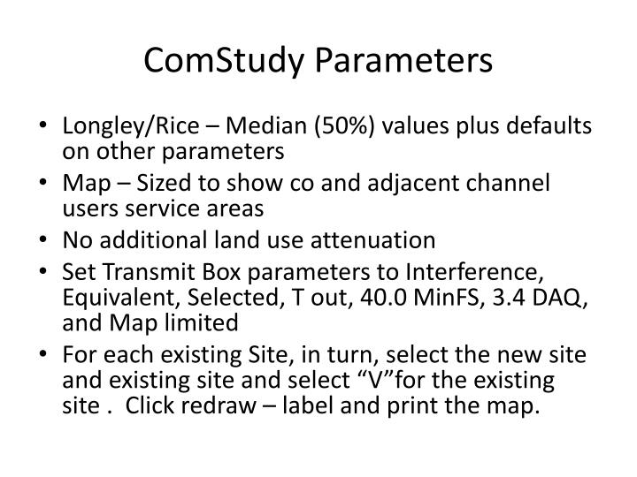 ComStudy Parameters