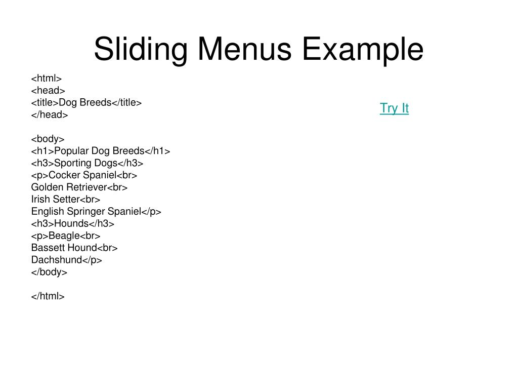 sliding menus example l.