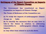 setting up of the expert committee on impacts of climate change