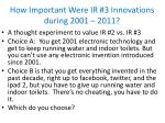 how important were ir 3 innovations during 2001 2011