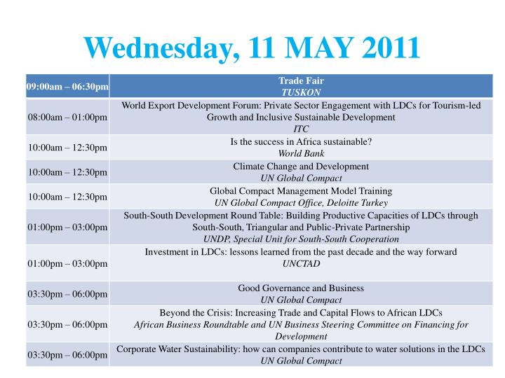 Wednesday, 11 MAY 2011