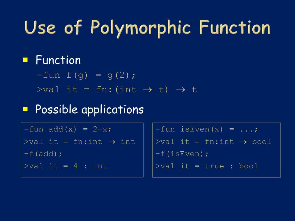 Use of Polymorphic Function