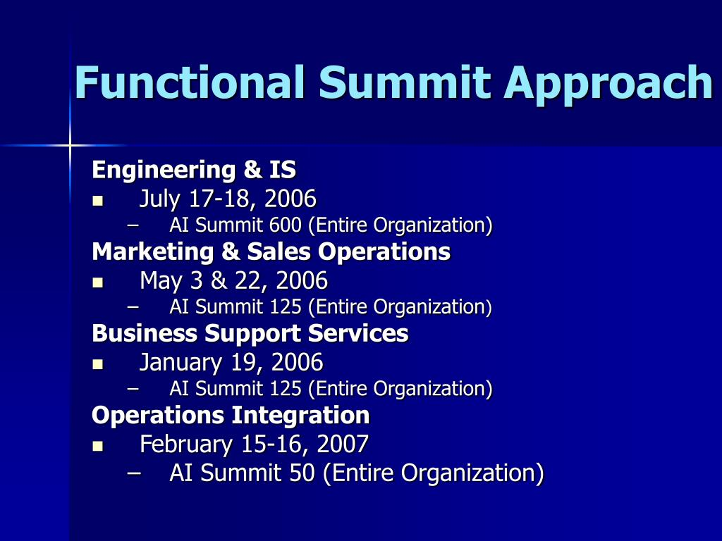 Functional Summit Approach