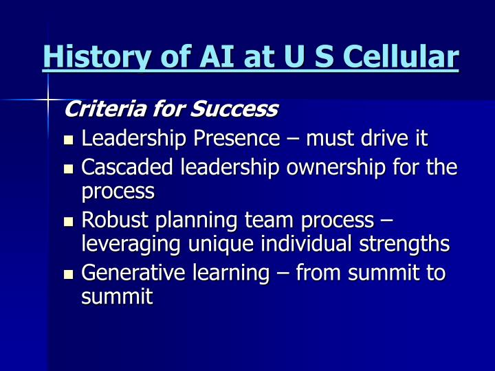 History of ai at u s cellular3