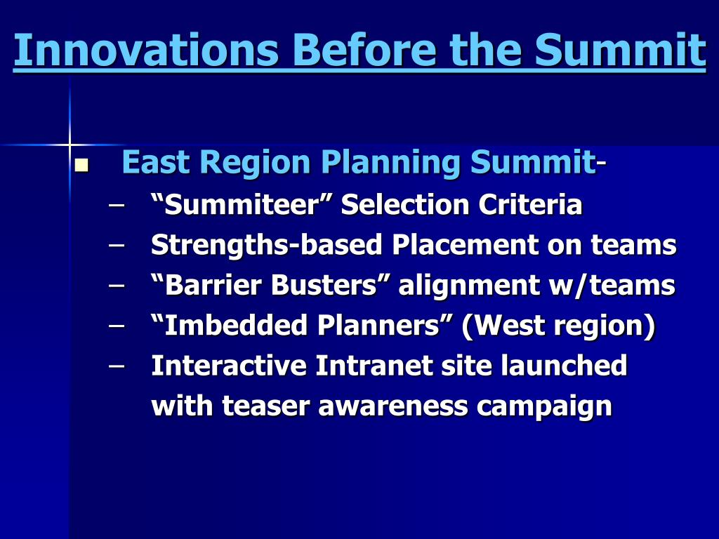 Innovations Before the Summit