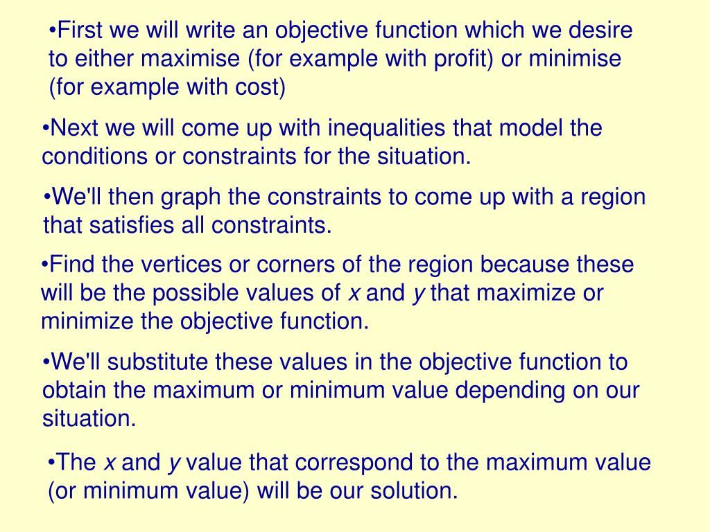 First we will write an objective function which we desire to either maximise (for example with profit) or minimise (for example with cost)