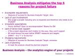 business analysis mitigates the top 6 reasons for project failure