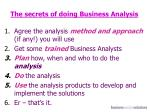 the secrets of doing business analysis