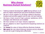 why choose business analyst solutions