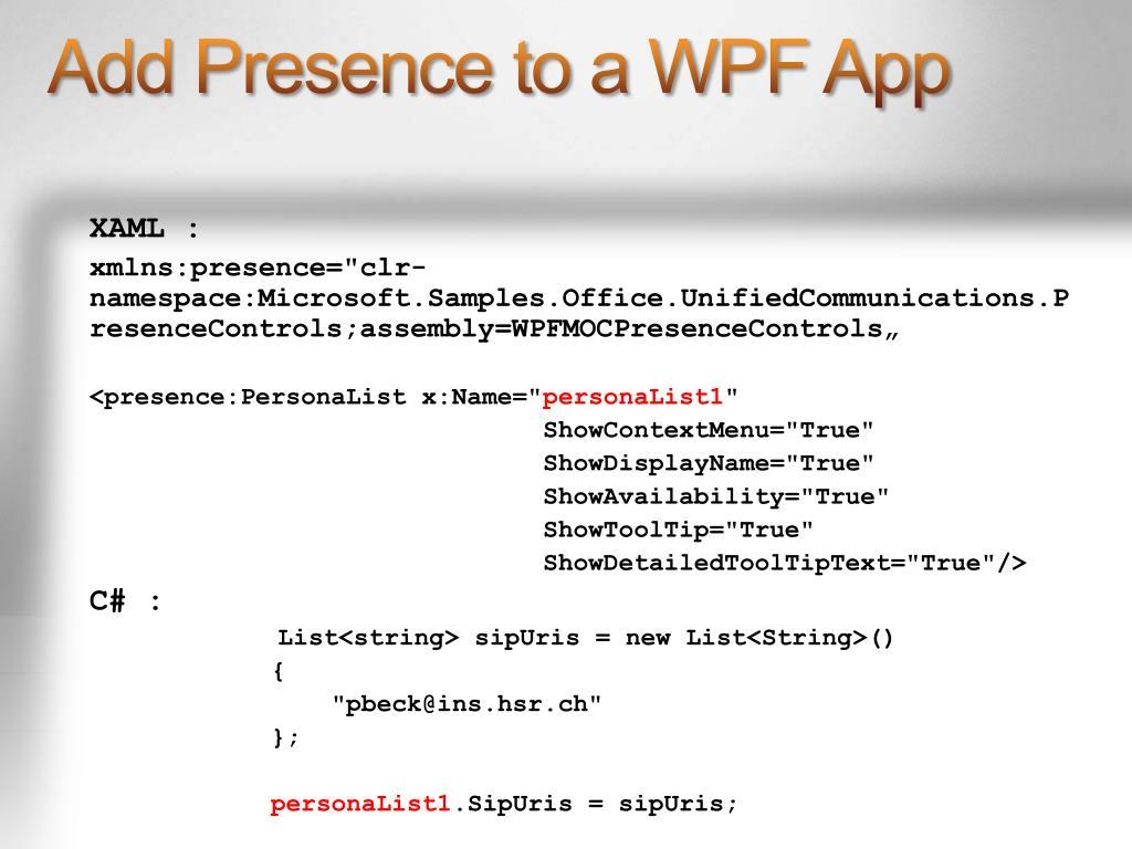 Add Presence to a WPF App