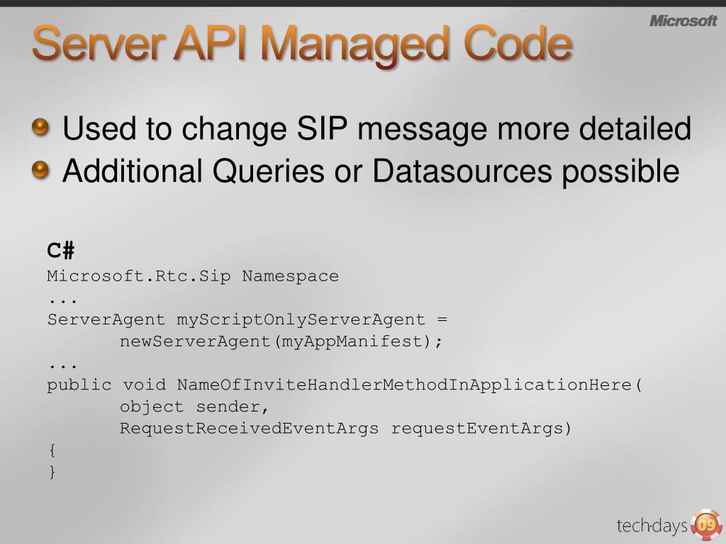 Server API Managed Code