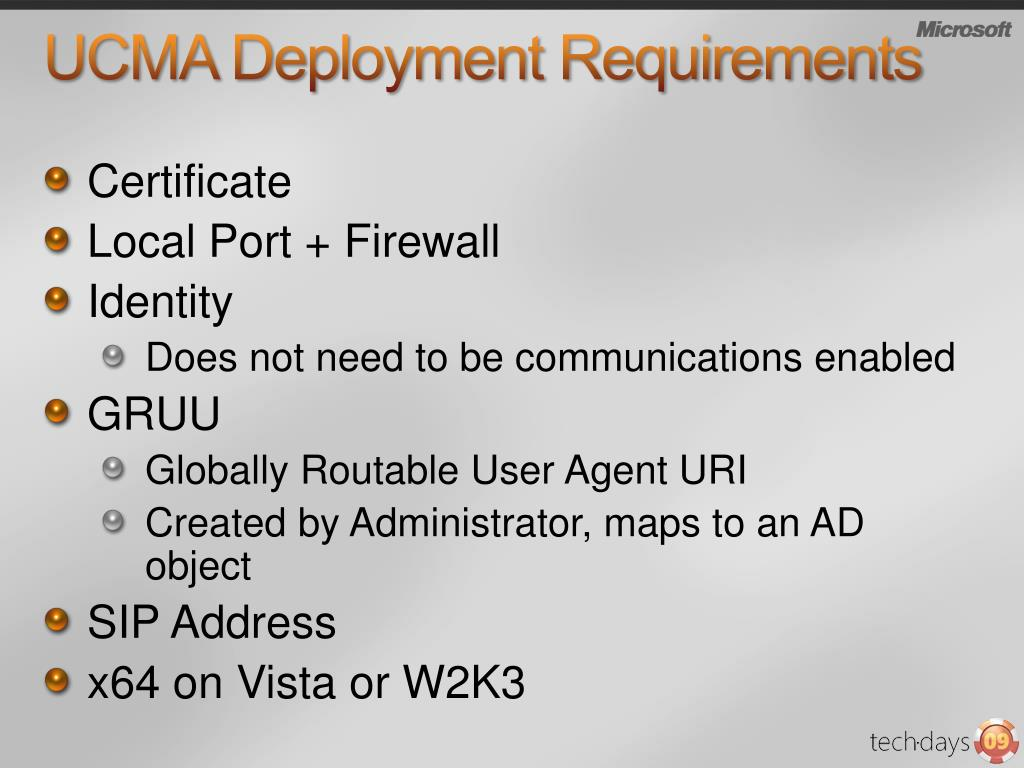 UCMA Deployment Requirements