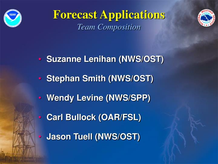 Forecast applications team composition