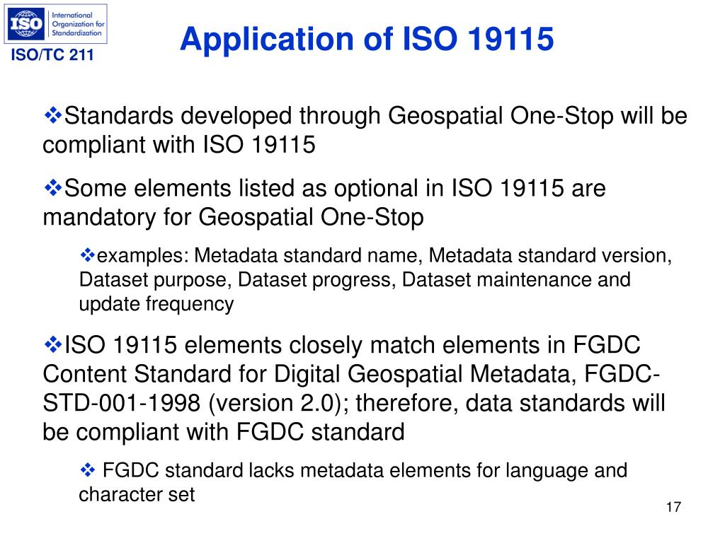 Application of ISO 19115
