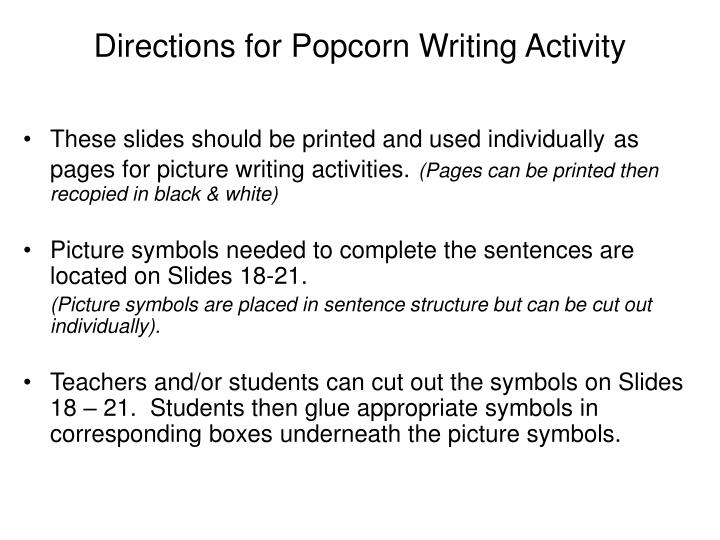 Directions for popcorn writing activity