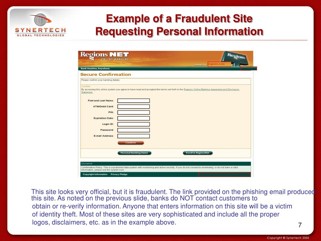 Example of a Fraudulent Site