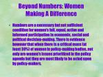 beyond numbers women making a difference